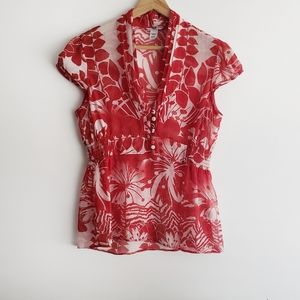 H&M women blouse short sleeve red size 8